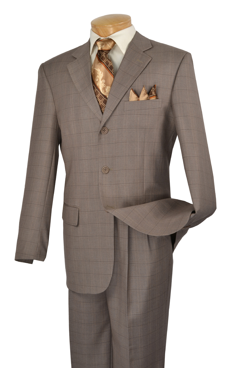 Mens Tan Brown Beige Navy Blue Seersucker 2 Button Notch Lapel Suit.